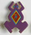 Laurel Burch Button - Dark Purple Frog with Red and Yellow Diamond - Dill Button