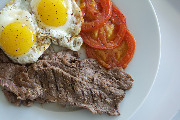 Organic Minute Steak and Eggs