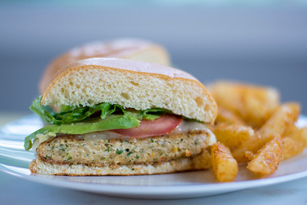Organic Ground Chicken Sandwich and Fries