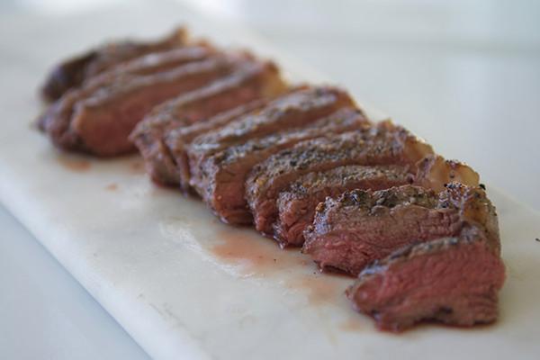 Organic New York Strip Steak Cooked