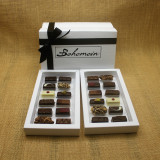 Bohemein Gift Box with 24 Non Alcohol Flavoured Chocolates including: Seventy Truffle x2, Vanilla Cream - Dark x2, Noisette (Hazelnut) x2, Strawberry Ganache x2 ,Pineapple Black Pepper Ganache x2, Ginger Caramel x2, Maple Cream x2, Raspberry Ganache x2, Chocolate Caramel x2, Pistachio Marzipan x2, Coconut Cream Truffle x2, Balsamic Vinegar and Honey Ganache x2