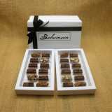 Bohemein 24  Milk Chocolates Gift Box includes: Chocolate Caramel x 4, Amaretto Truffle x 4, Cointreau Ganache x 4, Vanilla Cream - Milk x 4  Maple Cream x 4, Coffee Truffle x 4