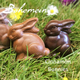 Bohemein Cinnamon Caramel Bunny .Our most popular Easter treat in Milk or Dark Chocolate