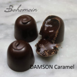 Bohemein Damson Caramel - Smooth, flowing Caramel made with tart Damson Plum puree and laced with Gordon's Gin in a sweet Dark chocolate shell.