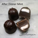 Bohemein After Christmas Mint. A classic peppermint and creme de menthe fondant sits atop luscious 70% dark chocolate ganache.