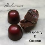 Bohemein Raspberry & Coconut Cream Ganache.Dairy Free  Tart and Tangy Raspberry Caramel with Coconut Cream Ganache.