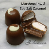 Bohemein Sea Salt Caramel and Marshmallow.  - Fluffy Vanilla Marshmallow on top of Chocolate Caramel with Crunchy Marlborough Sea Salt  in a Milk chocolate Shell