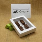 Bohemein 4 Milk Chocolates Gift Box includes: Maple Cream, Vanilla Cream Milk, Chocolate Caramel, Cointreau Ganache.