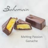 Bohemein Melting Passion Ganache. Luscious Passionfruit white chocolate Ganache with a splash of Vodka encased in dark chocolate.