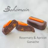 Bohemein Rosemary and Apricot Ganache. Rich, dark chocolate embraces warm peppery rosemary and tangy apricot nuggets