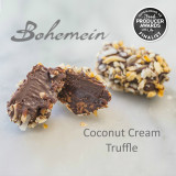 Bohemein Award Winning Coconut Cream Truffle. A smooth, sweet dark chocolate and coconut cream Ganache, dipped in bitter dark chocolate and rolled in sweet and crunchy candied coconut. Dairy FREE