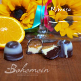 Mother's Day 2021 - Mimosa - Orange Caramel + Marc de Champagne Cream in 54.5% DARK chocolate shell with WHITE Chocolate marble finish