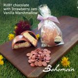 Bohemein Vanilla Marshmallow ,homemade Strawberry Jam Egg in RUBY chocolate