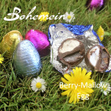 Bohemein Berry-Mallow filled mini Egg.  Boysenberry Caramel and Vanilla Marshmallow