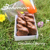 Bohemein Cinnamon Caramel Bunny in a box .Our most popular Easter treat in Milk Chocolate or Dark