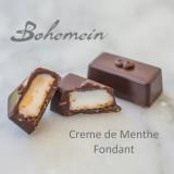Bohemein Creme de Menthe Fondant. A sweet fondant flavoured with crème de menthe, a classic peppermint liqueur, encased in a bitter dark chocolate shell.