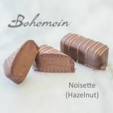 Bohemein Noisette (Hazelnut). A smooth, rich, very nutty blend of Dark 70% chocolate and strong hazelnut praline.