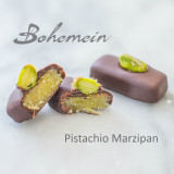 Bohemein Pistachio Marzipan.A well balanced blend of sweet almonds and pistachios, complemented with dark chocolate.