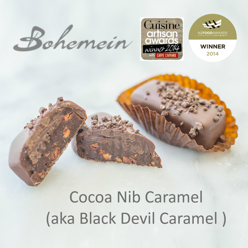Bohemein Cocoa Nib Caramel. Devilishly Good. 100% Dark chocolate and nuggets of Cocoa Nibs folded through Chewy Bittersweet caramel, coated in sweet dark chocolate and sprinkled with more 100% Dark chocolate.