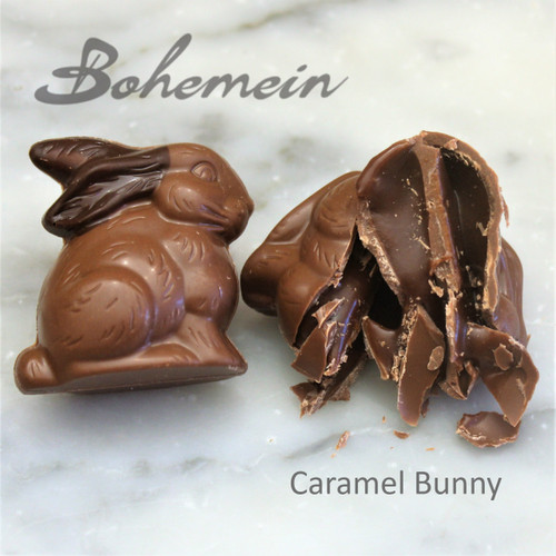 Bohemein Chocolate Caramel Bunny .Nice and safe flavour for kids.Filled with a soft textured caramel. Encased in Milk chocolate shell.