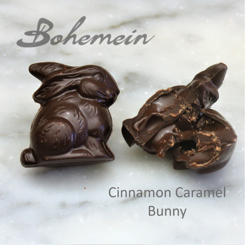 Bohemein Cinnamon Caramel Bunny .Our most popular Easter treat in Dark Chocolate