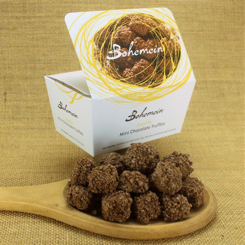 Bohemein Vanilla Mini Chocolate Truffle is milk chocolate ganache with hint of premium Heilala vanilla. Coated in milk chocolate and rolled in milk chocolate sprinkles