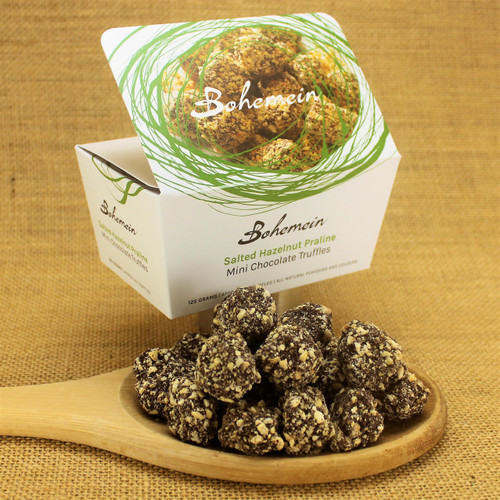 Bohemein Mini  Chocolate Truffle is  Hazelnut gianduja coated in 53% dark chocolate and rolled in freshly roasted New Zealand hazelnuts mixed with demerara sugar and pinch of sea salt