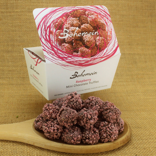 Bohemein Raspberry Mini Chocolate Truffle is raspberry puree and white chocolate ganache. Coated in 53% dark chocolate and rolled in white chocolate and raspberry sprinkles