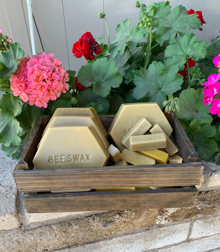 100% pure beeswax made by Ashurst honey bees.  Bees convert the sugar from honey to make was.  Beeswax is great for making candles, lip balms, body butters, furniture polish, and more.