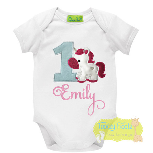 Unicorn Themed Birthday (Baby Blue Number / Baby Pink Name)