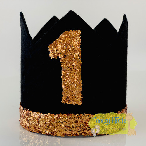 Reserved for Emily Jane - Birthday Crown Black Felt with bronze glitter features