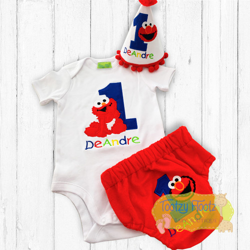 Cake Smash 3 Piece Set - Elmo - Sesame Street Inspired Birthday Set (Onesie, Nappy Cover & Hat)