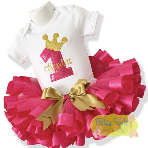Princess Number - 3 spoke crown & Hot Pink Ribbon Trim Tutu Birthday Set