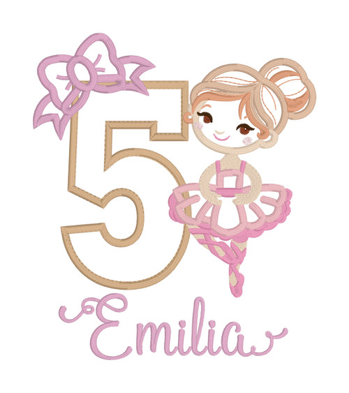 Ballerina with Bow Birthday Number