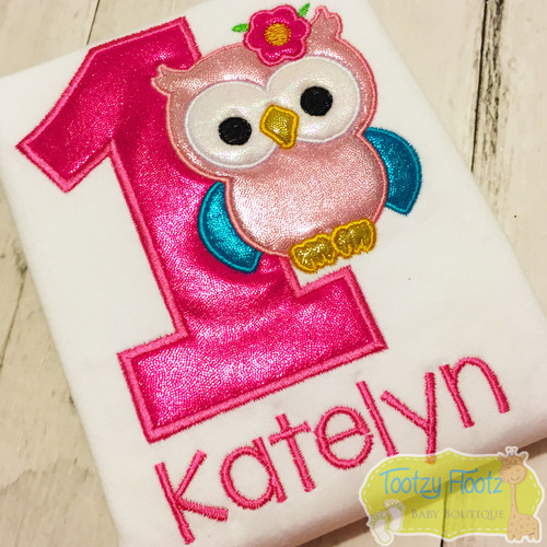 Owl Themed Birthday (Pink Number & Name)