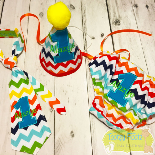 Cake Smash 3 Piece Set - Rainbow Chevron