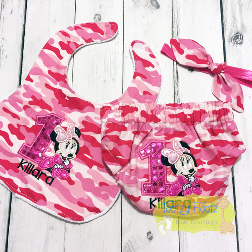 Cake Smash 3 Piece Set - Minnie Mouse Inspired on Pink Camouflage