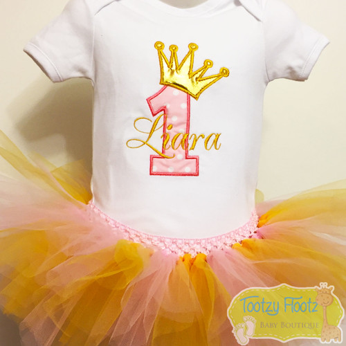 Birthday Number (Baby Pink) with Crown (Gold) Set