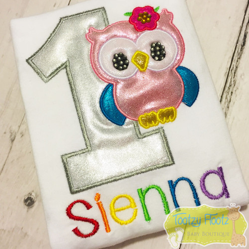 Owl Themed Birthday (Silver Number / Rainbow Name)