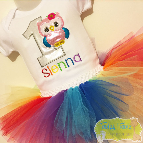 Owl Themed Birthday (Silver Number / Rainbow Name) Set