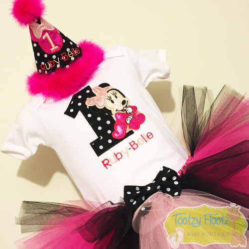 Minnie Mouse Inspired Birthday (Black, Hot Pink, Baby Pink) Set