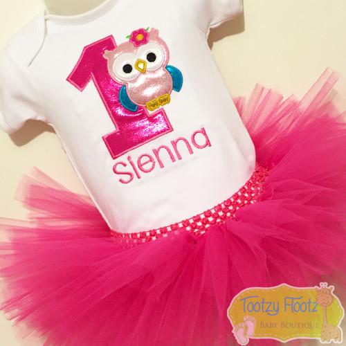 Owl Themed Birthday (Pink Number & Pink Tutu) Set