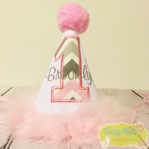 Elephant Themed Birthday (Baby Pink / Grey Chevron Number) Party Hat