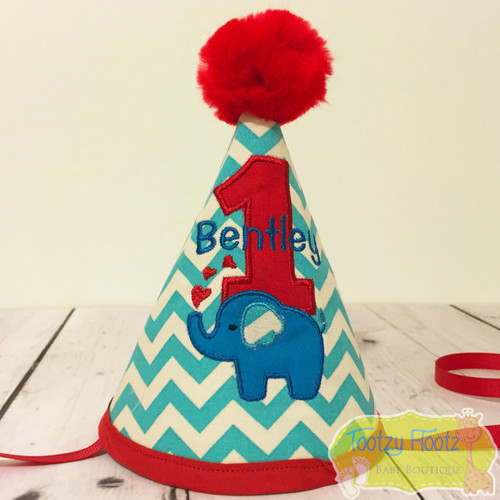 Elephant Themed Birthday (Aqua Chevron / Red Trim) Party Hat