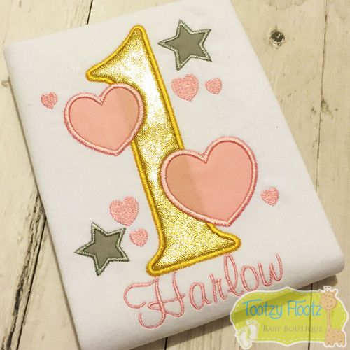 Number with hearts and stars Themed Birthday