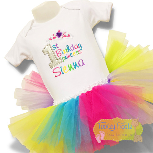 1st Birthday Princess Rainbow Set