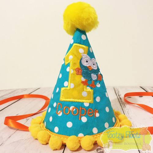 Hoot Inspired Hat (Yellow Pom Pom Trim)