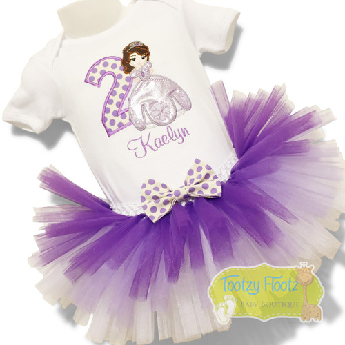 Sofia The First Inspired with Purple > White Ombre Tutu Birthday Set