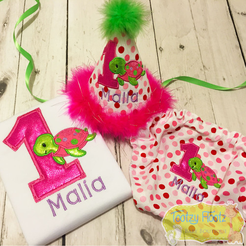 Cake Smash 3 Piece Set - Turtle Themed <Top, Hat, Nappy Cover>