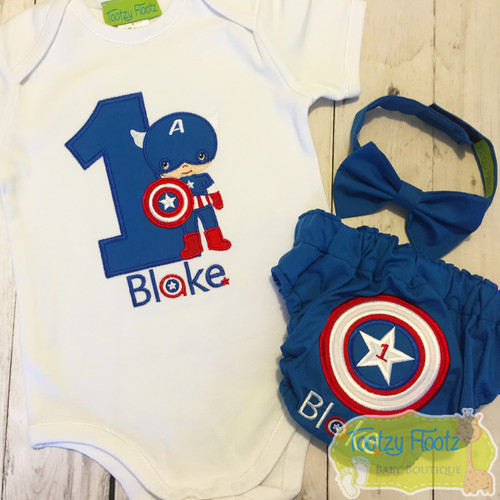 Cake Smash 3 Piece Set - The Avengers - Captain America Inspired <Top, Bow Tie, Nappy Cover>